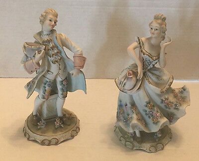 Pair Of Victorian Lefton China Figurines--Women Kw2077B--Man Kw2077A