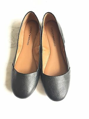 Lucky Brand Black Leather Slip On Ballet Flats Women's 8M