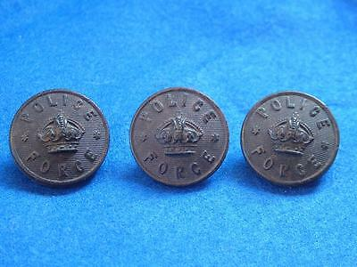 """3 x Vintage 25mm Black Bakelite/Celluloid """"POLICE FORCE"""" Tunic Buttons"""