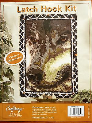 "Craftways Large Latch Hook Rug Making Kit   "" Wolf Rug"" - Bnwob."