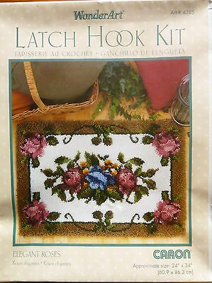 "Caron Large Latch Hook Rug Making Kit ""elegant Roses"" Bnib."