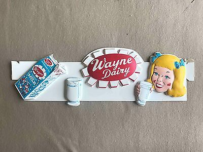 NOS Wayne Dairy Milk vintage vaccuformed Advertising Sign