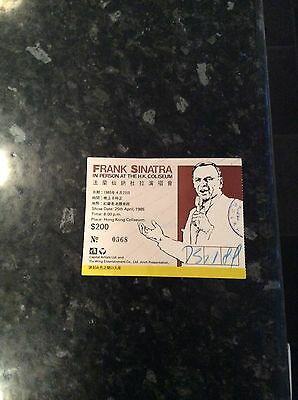 Original Used Frank Sinatra Ticket From 25.04.1985 Played Abroad In Hong Kong