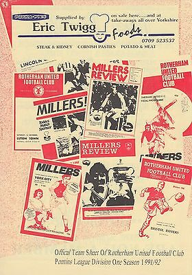 Rotherham United Reserves v West Bromwich Albion Reserves 1991/2 (Jan)