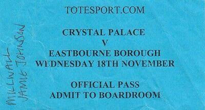 Ticket - Crystal Palace Reserves v Eastbourne Borough (18 November)