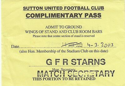Ticket - Sutton United v Havant and Waterlooville 11.01.03