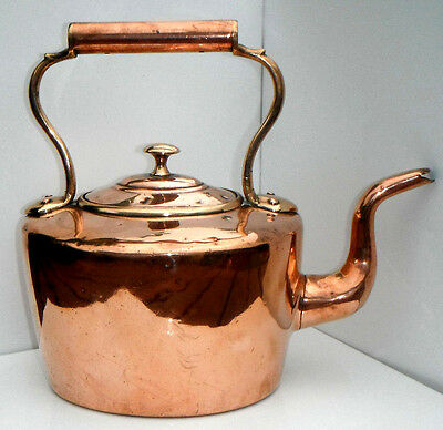 Heavy Antique Solid Copper And Brass Kettle 5 Pints