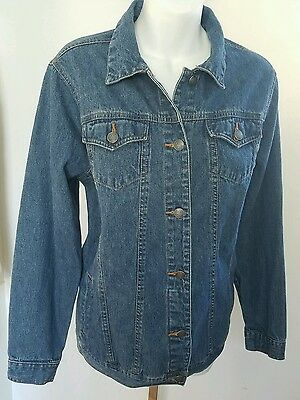 Baby and Me Maternity Womens Size Medium Denim Trucker Style Blue Jean Jacket