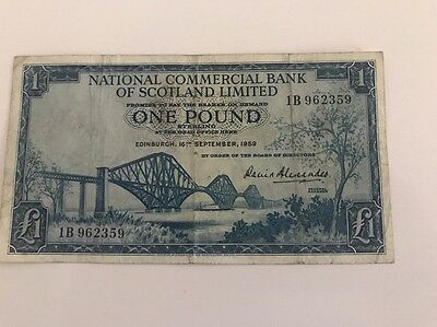 (National Commercial Bank Of Scotland Limited 1959 One Pound £1 1B 962369