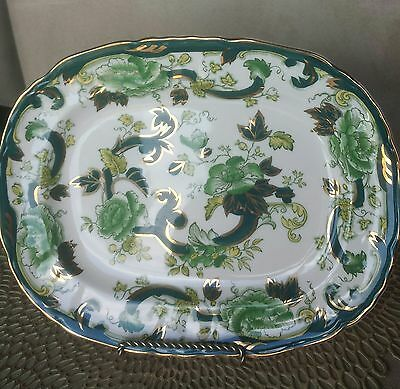 Vtg MASON'S IRONSTONE CHARTREUSE OVAL SCALLOPED SERVING DISH GREEN FLOWERS