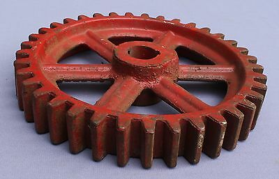 """antique 11"""" X 1 3/4"""" industrial cast iron gear,brilliant RED! 16lbs,marked L769"""