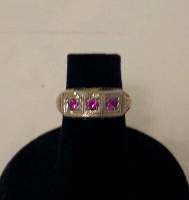 Lovely Vintage 14kt. yellow gold  and I believe  Ruby ring size 4