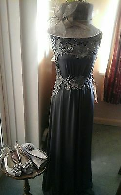 Mother Of The Bride Outfit Dress Full Length Size 12, Hat, Bag & Shoes Size 7
