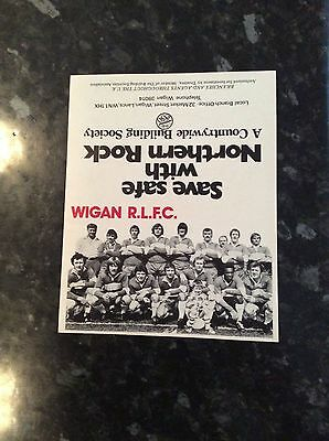 WIGAN RLFC PHOTO / STATISTICS AND HONOURS CARD - ISSUED BY COUNTRYWIDE BANK 70s