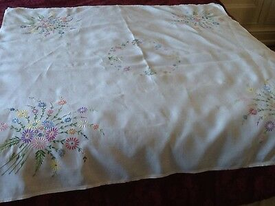Vintage, Linen, Embroidered Tablecloth.