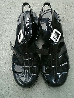 New Ladies Black Jelly Shoes Festival Beach Strappy Gladiator Sandals Size 6