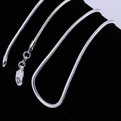 Sterling Silver Plated 925 Sterling 2mm Snake Chain Necklace with Lobster Clasp