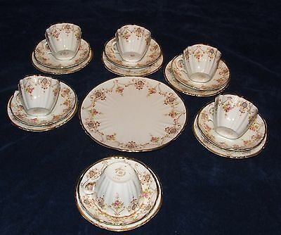 Rare 1900s Art Nouveau Royal Albert Trios + Cake Plate Unknown Pat or Cup Shape?