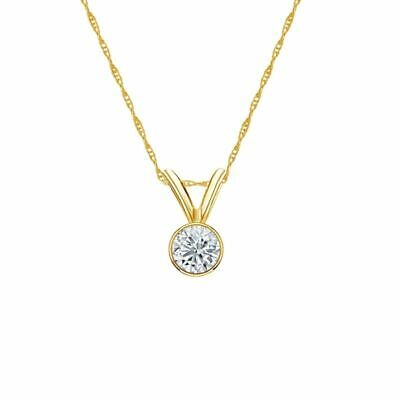 14K Yellow Gold Bezel Round-Cut Diamond Solitaire Pendant 1/6ct G-H, SI1 w/Chain