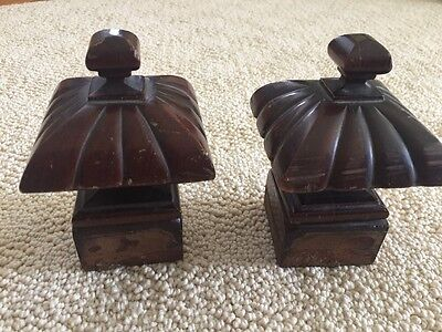 Set Of 2 Carved Newel Post Top Finial Square Base Architectural Salvage