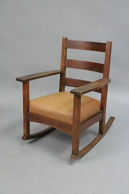 Antique Arts And Crafts  Mission Charles Stickley Rocking Chair With New Leather