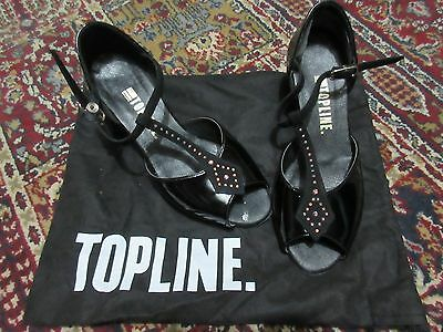 Topline Ballroom Latin Dance shoes black patent with crystals size 5