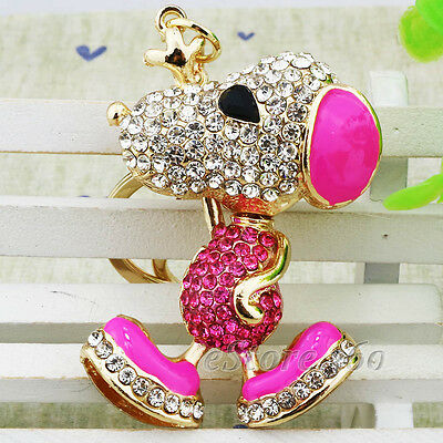 Cute Crystal Snoopy Dog Keychain Keyring Key Chain Ring Bag Charm Jewelry S
