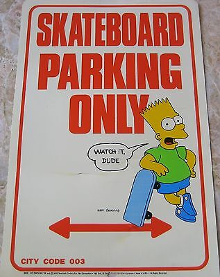 "The Simpsons Bart Simpson ""Skateboard Parking Only"" Plastic Sign Poster Vtg 1990"