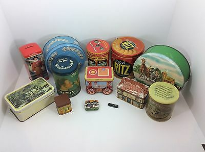 Lot/13 VTG Collectible Advertising Tins Ritz Hershey Planters Nabisco Wegewood