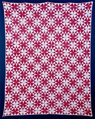 "Antique, Red & White, ""Winding Ways"" Pieced Quilt, Cotton, Ohio, c. 1900-1920..."