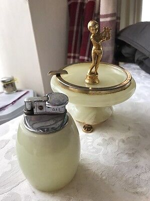 Lighter And Cigarette Holder 1920 S Cherub Brass And Marble