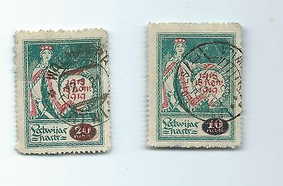 Latvia 1919 stamps printed on bank notes