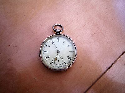 english hallmarked solid silver 1891 gents pocket watch for repair