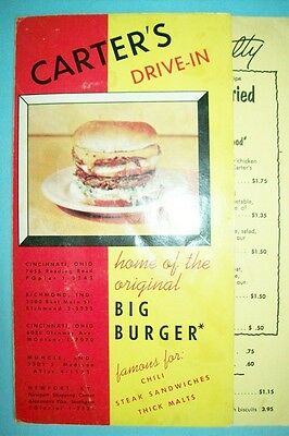 Vintage 1950s Kentucky Fried Chicken Restaurant Menu-Carter's Drive-In OH KY IN