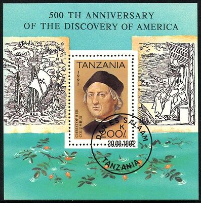 (Ref-10880) Tanzania 1992 Columbus Discovery of America  SG.MS1352  Used (CTO)