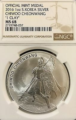 2016 South Korea Silver 1 Clay Chiwoo Cheonwang NGC MS 68 (korean komsco dmz)