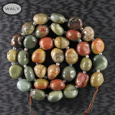 Tumbled 16 inch 13x10x8mm Multi-Color Picasso  Strand-A