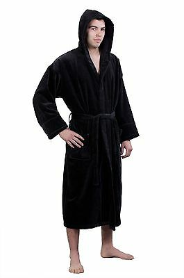 100% Turkish Cotton Adult Hooded Terry / Velour Robe - Black - Adult - One Size