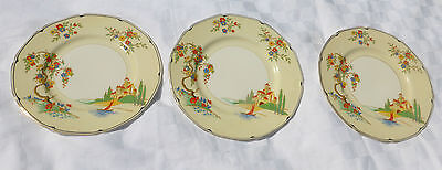 "Antique GRINDLEY ""The Lucerne""  Set of 3 x DINNER PLATES  22.5cm *RARE* 1900's"