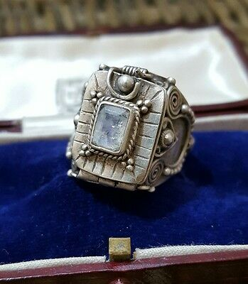 Beautiful Vintage Sterling Silver Men's Poison Ring, Moonstone, Size R½, Heavy
