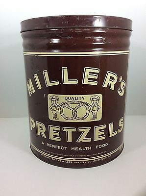 "Vintage Miller's Pretzels Can Tin Allentown Pennsylvania- 14.5"" high x 12"" diame"