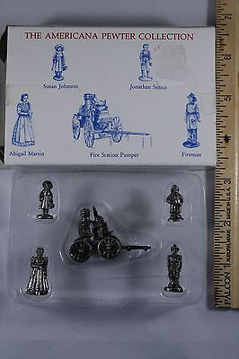 SET 5 Americana Pewter Collection AH18 miniature figurines dollhouse train NOS