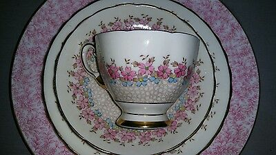 Tuscan Plant Pattern 6304A Art Deco Pink Turquoise Enamel Trio Cup Saucer Plate