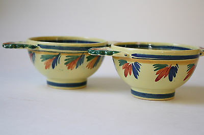 Pair of Quimper Lugged Bowls HB Quimper France Rare Yellow Pattern