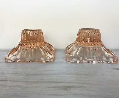 Set Of 2 Pink Vintage Art Deco Glass Candlestick Holders