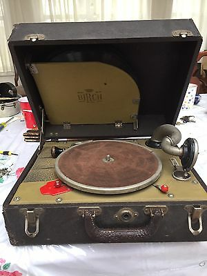 Birch No 2 Hand Cranked Record Player Working