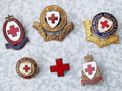 Job Lot of Old Antique Vintage British Red Cross Society Pin & Cap Badges. Brass