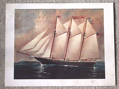 VTG Print Repro Oil Painting Print Ship TD Harrison Port Jefferson NY Maritime