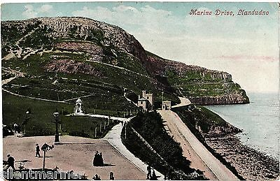 Llandudno, Marine Drive, old coloured postcard, posted 1905