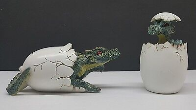 Set of 2 Baby Dragon Hatchling Egg Figurine Paperweight DS